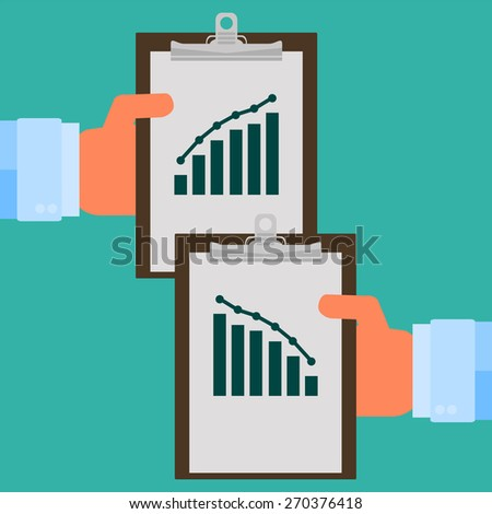 Vector modern flat illustration on hands holding clipboard with empty sheet of paper - stock vector