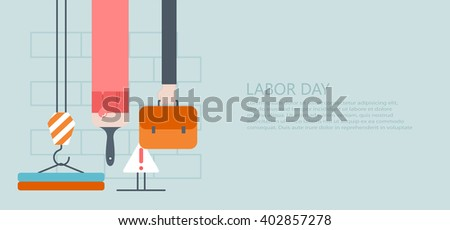 vector modern flat labor day or 1 may background - stock vector