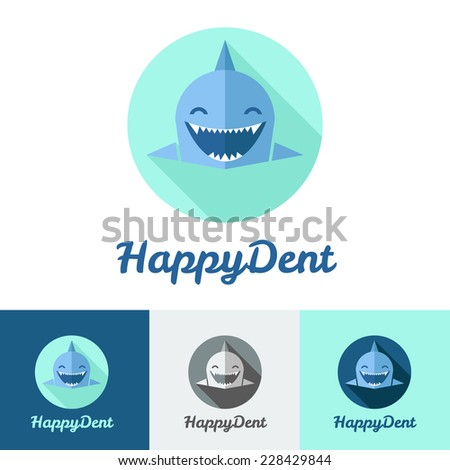 Vector modern flat shark logo set for dental center - stock vector