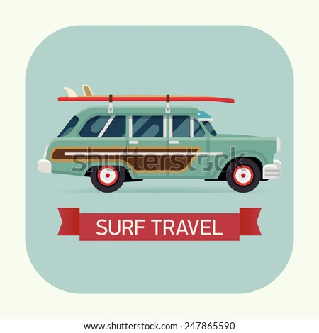 Vector modern flat square transport vehicle icon on surf trip destination retro woodie wagon car with surfboards - stock vector