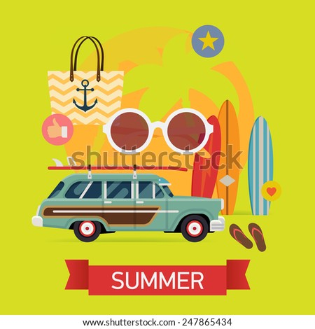 Vector modern flat square web banner design on best summer vacation, beach recreation, water activities, surfing for travel agency promotion with woody surf car, palms, surfboards, beach bag, glasses - stock vector
