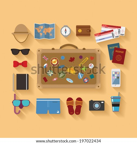 Vector modern flat style icons set for tourism industry, traveling on airplane, planning summer vacations. - stock vector