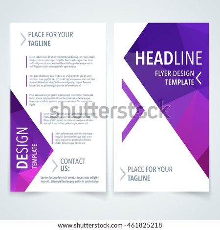 Vector modern flyer, poster or brochure design template with purple triangle texture on white background