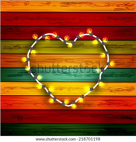 vector modern garland heart on colorful wooden background - stock vector