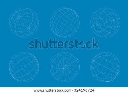 vector modern geometric white circle sphere set on blue background - stock vector