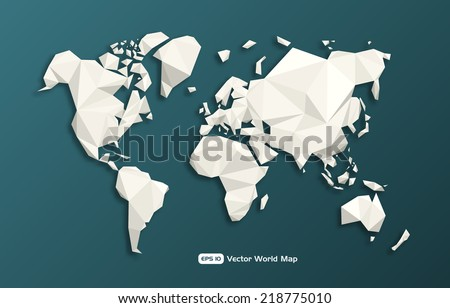 Vector modern geometric World map made with triangles.  - stock vector