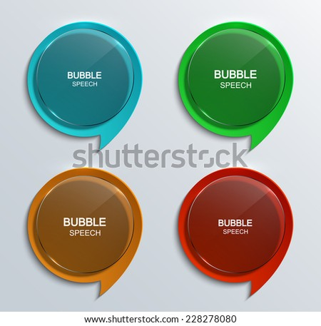 Vector modern glass bubble speech icons set. Eps 10