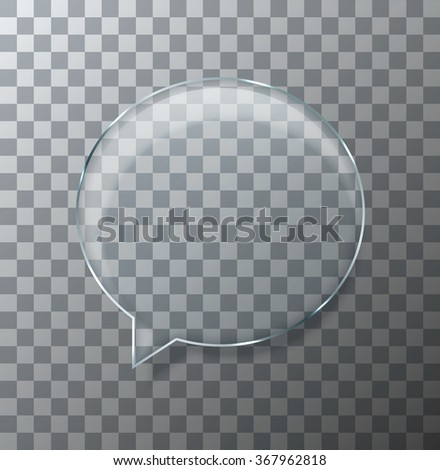 Vector modern glass bubble speech on sample background. Eps10 - stock vector