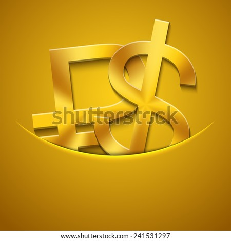 Vector modern gold ruble and dollar icons background. Eps10