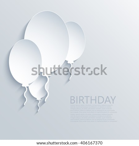Vector modern happy birthday invitation. Balloons background - stock vector