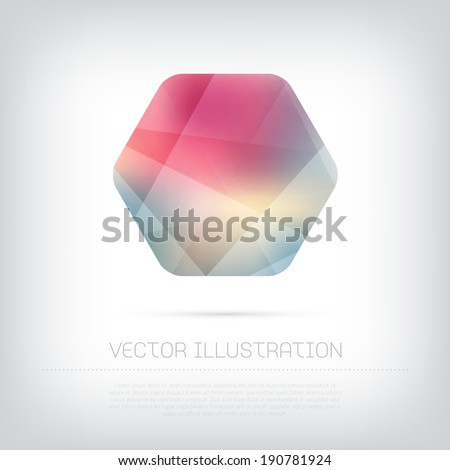 Vector modern hexagonal web banner / badge with colorful polygonal texture - stock vector