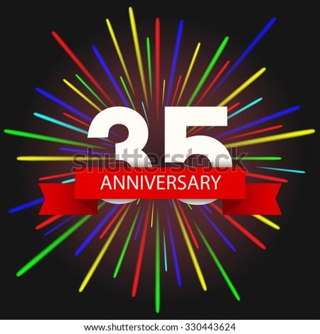Vector modern holiday 35  anniversary invitation card. Creative fireworks background - stock vector