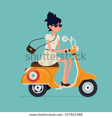 Vector modern icon on hipster young woman character riding fast retro scooter wearing sun glasses, isolated | Urban modern lifestyle abstract illustration of dynamic female person - stock vector