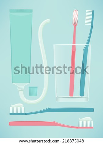 Vector modern illustration of dental care items: toothbrushes and toothpaste | Pair of toothbrushes in a glass, toothbrushes with toothpaste, ready to use, opened toothpaste tube - stock vector