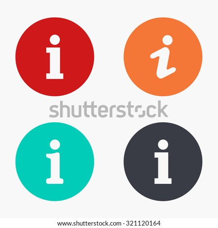 Vector modern information mark colorful icons set on white background - stock vector