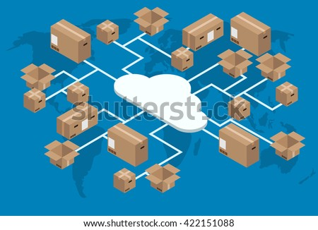 vector modern isometric global delivery background. Footage version also in portfolio - stock vector