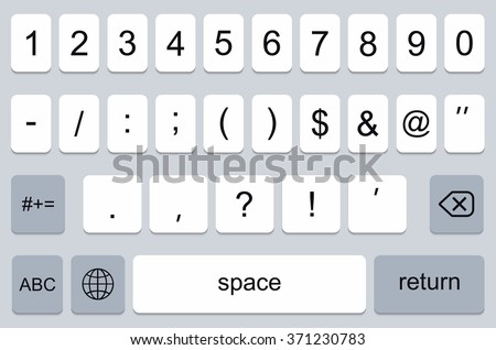 vector modern keyboard of smartphone, numerals buttons