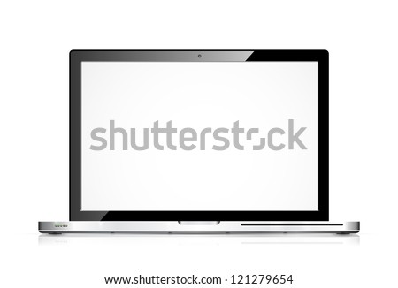 Vector modern laptop isolated on white - stock vector