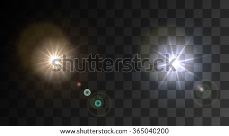 Vector modern light flash on sample background. Eps10 - stock vector