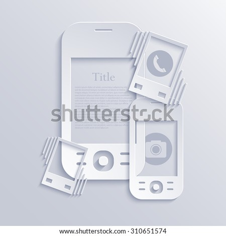 Vector modern light smartphones icons. Technology background - stock vector