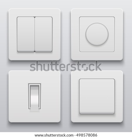 Vector Modern Light Switch Icons Set On Background