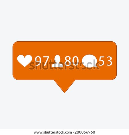 vector modern like, follower, comment icons on white background - stock vector