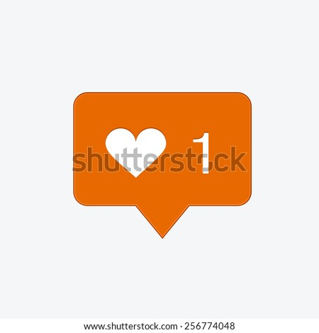 vector modern like orange icon on white background. Footage version also in portfolio - stock vector