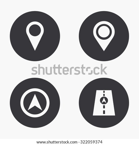 Vector modern map pointer  icons set on white background - stock vector