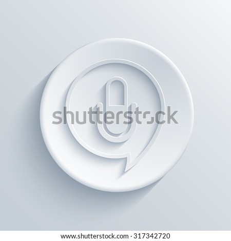 Vector modern microphone light circle icon with shadow - stock vector