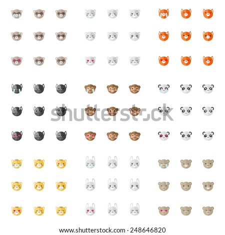 Vector modern minimalistic flat animal emoticons collection. Nine animal emoji heads. Cat, bunny, fox, dog, ferret, monkey, panda, tiger and bear heads with different emotions - stock vector