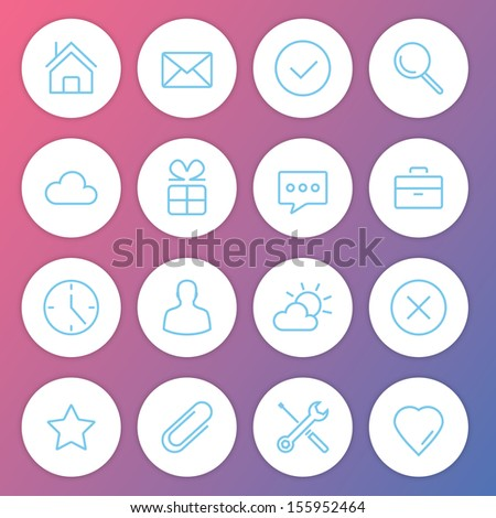 Vector Modern Minimalistic Icons Set  - stock vector