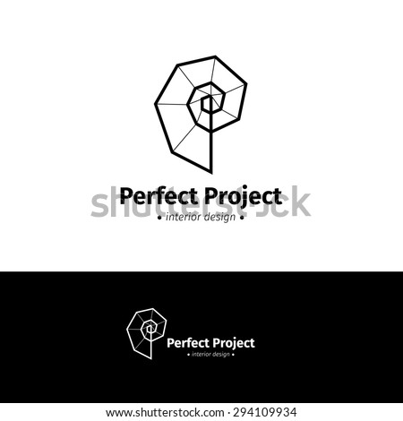 Vector modern minimalistic interior design logo. Black and white creative spiral logotype - stock vector