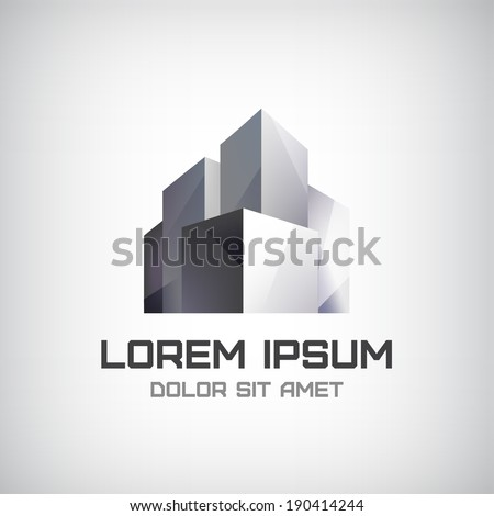 vector modern office building icon, logo isolated - stock vector