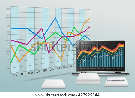Vector modern office with business data and financial accounting - stock vector