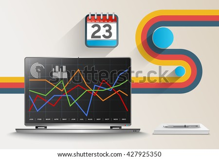 Vector modern office with business data and financial accounting. - stock vector