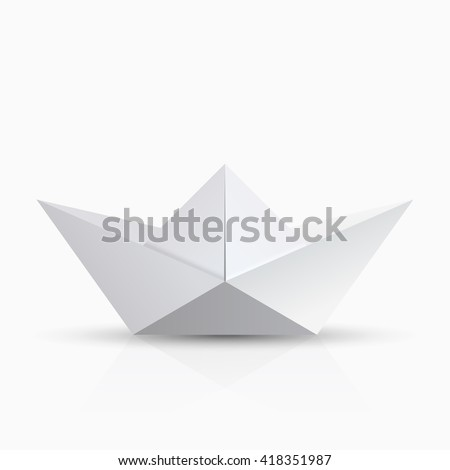 vector modern origami boat with shadow on transparent background