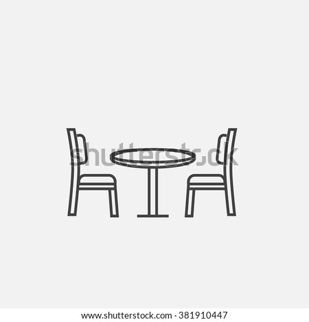 Vector modern outline icon of table with chairs. Table with chairs outline vector icon. Furniture for living room outline icon. Living room table with chairs icon.