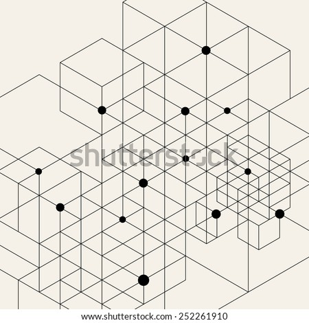 Vector Modern Pattern. Black Techno Texture. Geometric Pattern Background. Rhombus, Triangles and Circles in Nodes. Abstract Ornament for Business Design. - stock vector