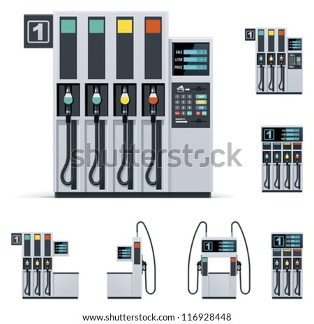 Vector modern petrol or gas filling station pumps set. Includes four pumps with different designs - stock vector