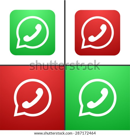 Vector modern phone icon set on white background - stock vector