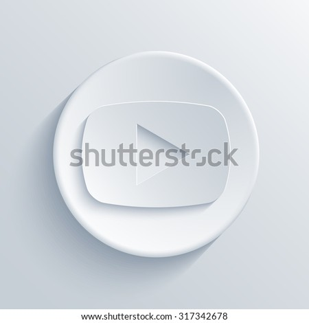 Vector modern play light circle icon with shadow - stock vector