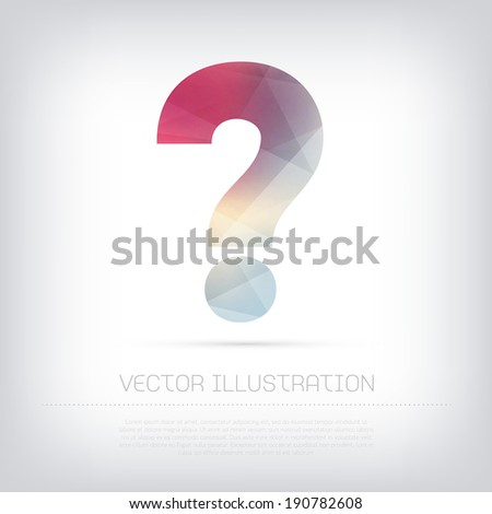Vector modern question mark icon with colorful polygonal texture - stock vector