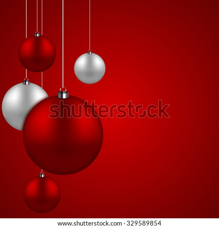 Vector modern red and silver christmas balls background. Xmas invitation card. Eps10 - stock vector