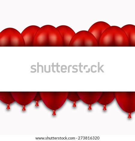 Vector modern red balloons on white background - stock vector