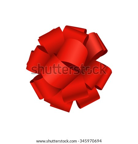 Vector modern red bow on white background. gift wrap or wrapping paper - stock vector