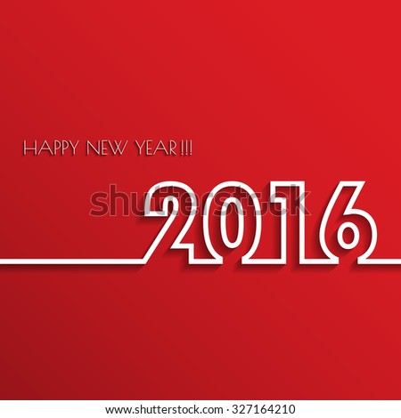 Vector Modern red simple Happy new year 2016 card with a long shadow effect .Vector/illustration. - stock vector