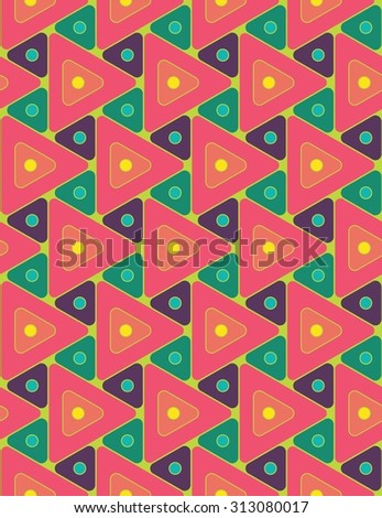 Vector modern seamless colorful pattern  pink round triangles , color background,textile print, abstract texture,  fashion design, bed sheets or pillow pattern