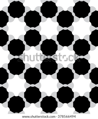 Vector modern seamless geometry pattern atom, black and white abstract geometric background, pillow print, monochrome retro texture, hipster fashion design - stock vector
