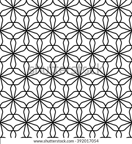 Vector modern seamless geometry pattern flower of life, black and white abstract geometric background, subtle pillow print, monochrome retro texture, hipster fashion design