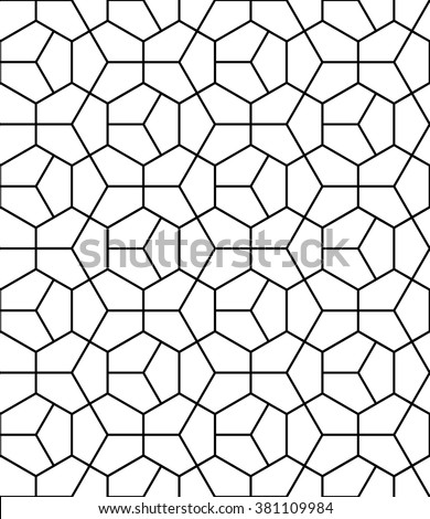 Vector modern seamless geometry pattern hexagon, black and white abstract geometric background, pillow print, monochrome retro texture, hipster fashion design - stock vector